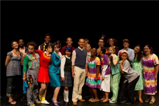 West Sacramento Mayor Cabaldon and Cast of Spelling Bee; Credit Reed Wagner