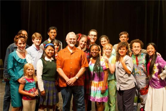 Davis Mayor Saylor with Cast of Spelling Bee; Photo Reed Wagner