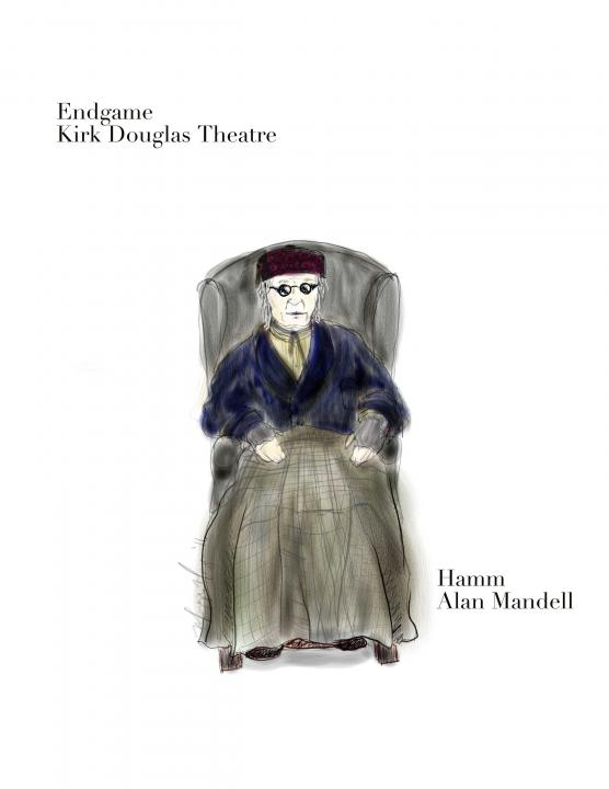 "Costume rendering for the character of Hamm for ""Endgame"" by Maggie Morgan"