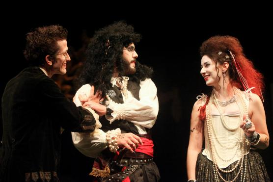 Christopher Wolfe (Sir Richard Plainman), Cody Holguin (Capt. Firebrand) and Wendy Wyatt-Mair (Lady Reveller)