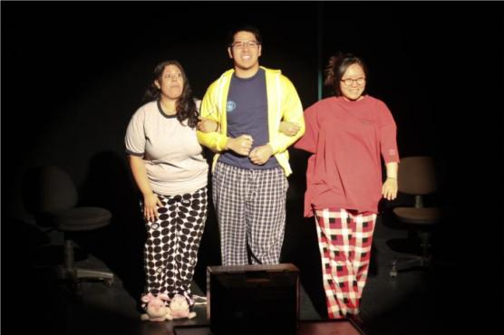 Stephanie Rivas, Kevin Chung, Cecelia Kim in One-Acts: Chair Games; Photo: Abigail Alcala