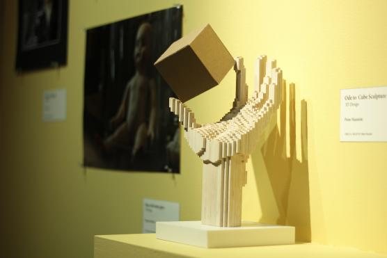 """""""Ode to Cube"""" Sculpture by Peter Nasielski, photo by Huan Yu, copyright UC Davis"""