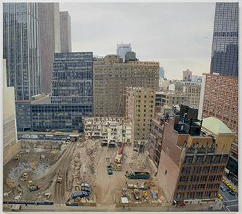 Rackstraw Downes, Demolition and Excavation on the Site of the Equitable Life Assurance Society's New Tower at 7th Avenue and 52nd Street, 1983. Oil on canvas, 32 x 36 inches. Courtesy Betty Cuningham Gallery.