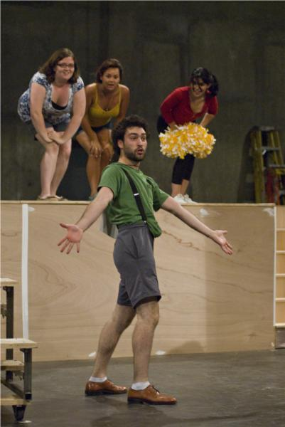 "Matthew Dunivan as William Barfee sings ""Magic Foot"" with Jenny Adler, Malia Abayon, Christina Rabago; Photo: Karin Higgins"
