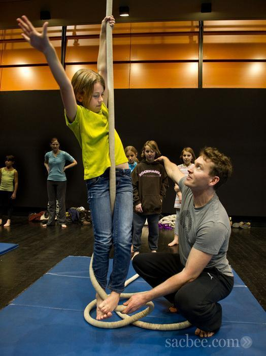 Kevin OConnor and participants at family circus workshops. Credit Randy Pench, Sacramento Bee