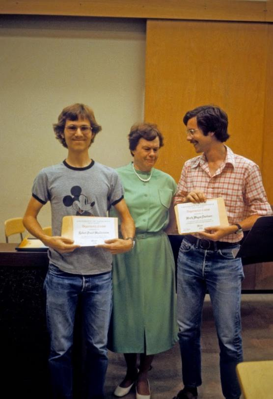 Sydney Charles with with Department Citation winners  Robert Maldonado and Mark Dowlearn in the newly remodeled Room 115, Music Building, 1979.