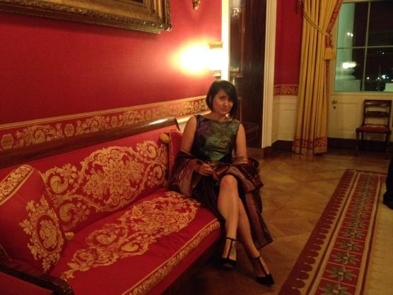 Leah Huntsinger (Design '04) in the red room at the White House.