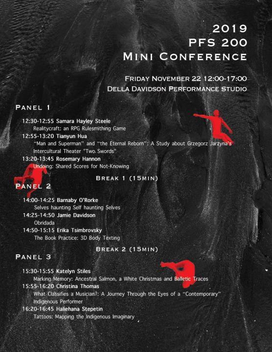 Black volcanic background with red falling or dancing figures. White text outlines the day's schedule of panels and performances