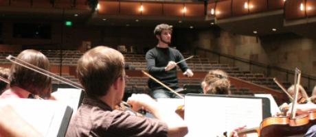 Master's in conducting student David Möschler in 2008 with the UC Davis Symphony Orchestra.
